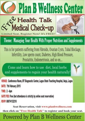 FREE HEALTH TALK/MEDICAL CHECK-UP : 7/02/2015