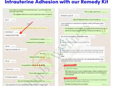 Woman Conceived After Treating Intrauterine Adhesion with Our Remedy Kit