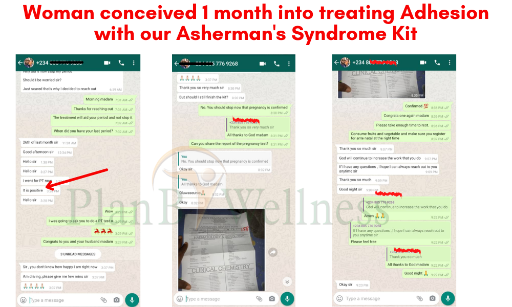 Pregnancy testimony while treating adhesion